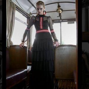 Black lace long sleeve layered maxi dress